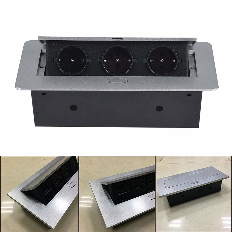 Silver color Pop-Up desktop power socket outlet for furniture table /hotel project pop up socket