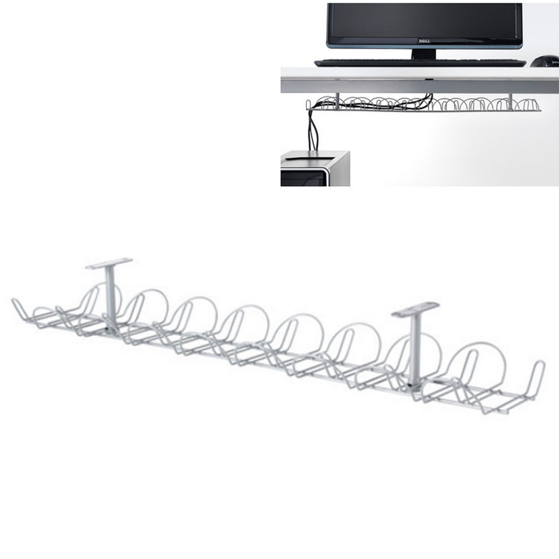 Silver Desk Cable Management Box Charger Trunking Hide Tidy Cover Tray Organiser